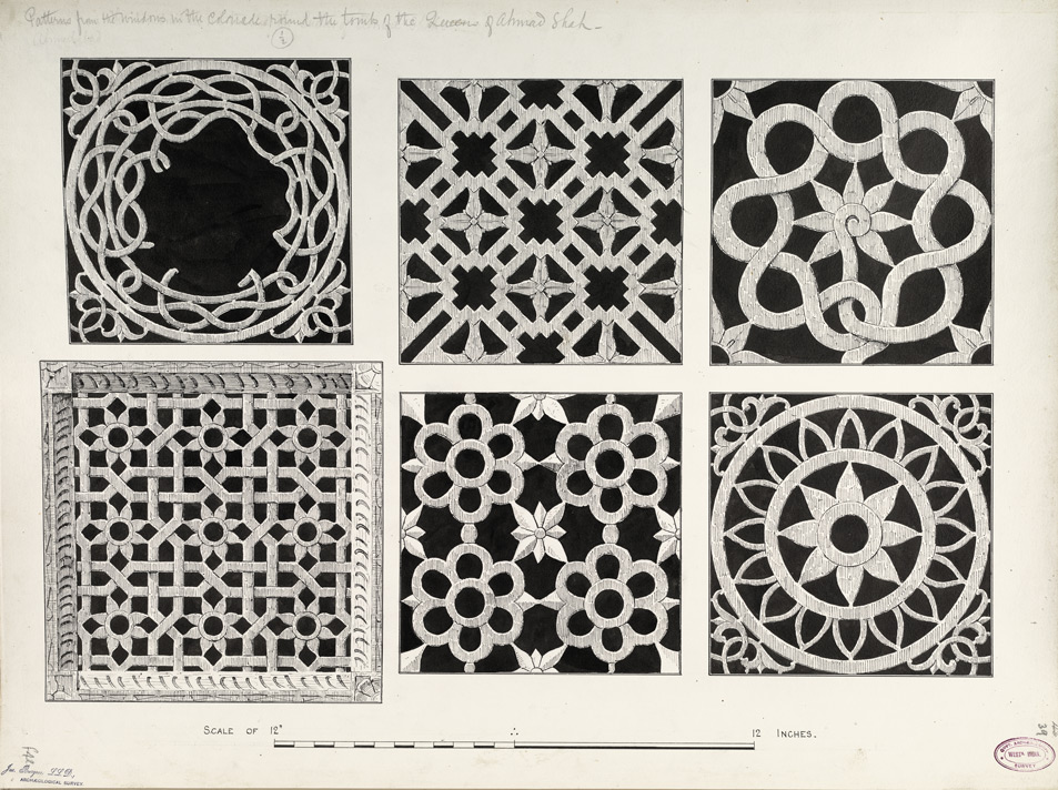 Ahmadabad: Patterns from the windows of the colonade around the tombs of the Queens of Ahmad Shah f.42